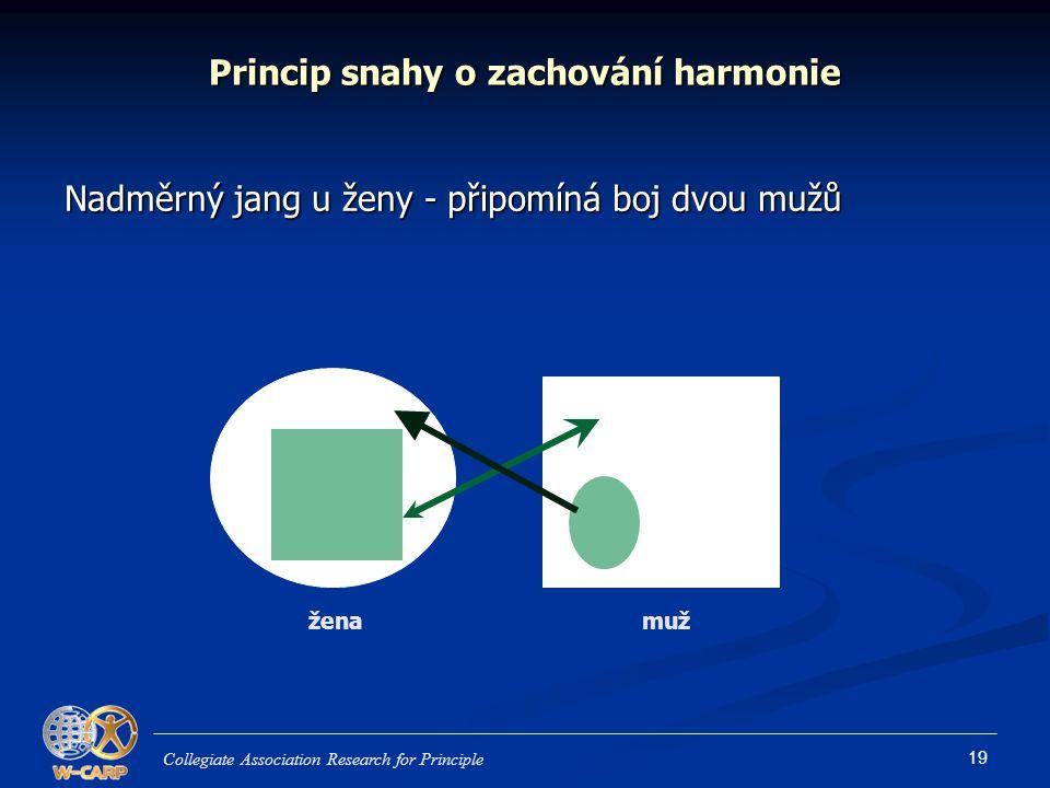 19 Princip snahy o zachování harmonie Nadměrný jang u ženy - připomíná boj dvou mužů Collegiate Association Research for Principle žena muž