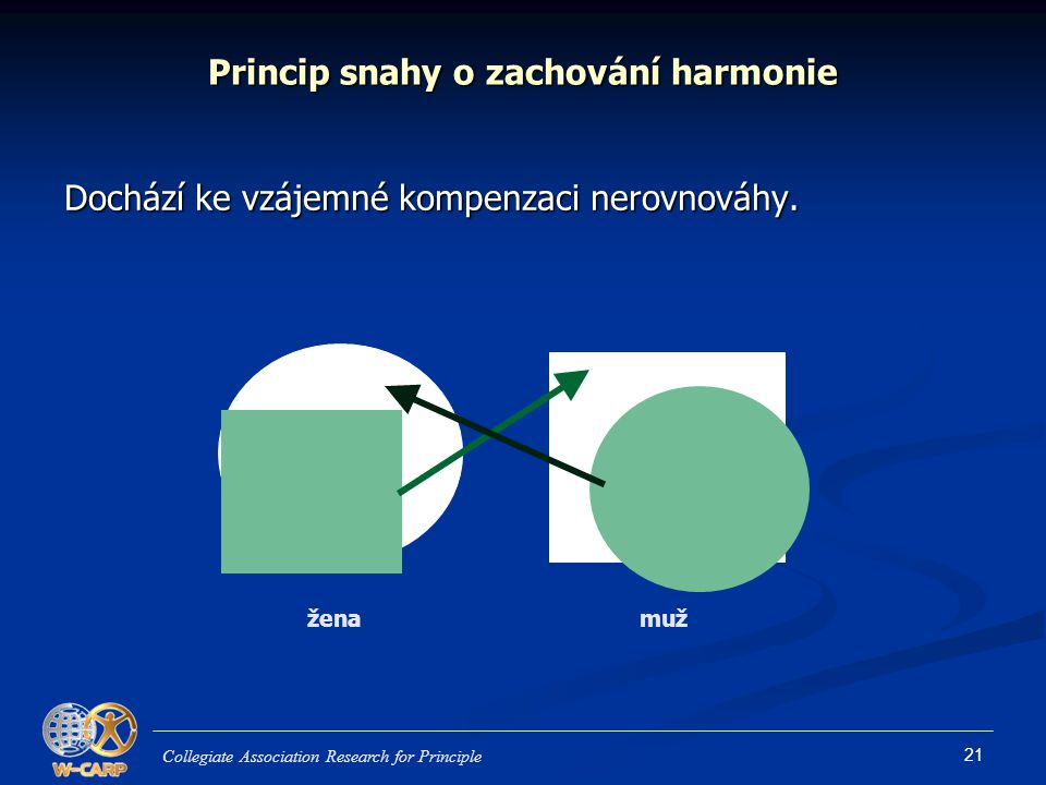 21 Princip snahy o zachování harmonie Dochází ke vzájemné kompenzaci nerovnováhy. Collegiate Association Research for Principle ženamuž žena muž