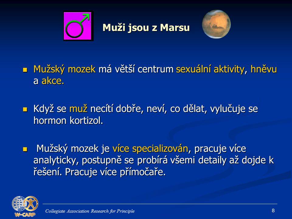 8 Muži jsou z Marsu Mužský mozek má větší centrum sexuální aktivity, hněvu a akce. Mužský mozek má větší centrum sexuální aktivity, hněvu a akce. Když