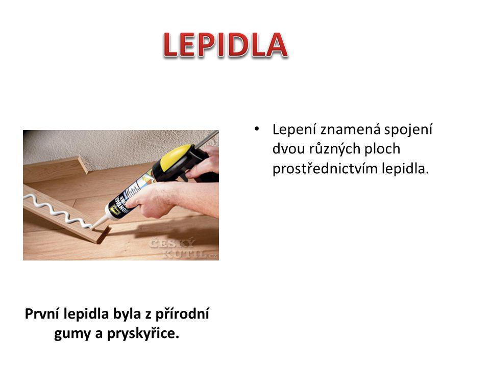 První lepidla byla z přírodní gumy a pryskyřice. První prokázané použití lepidla je z doby 4000 př.