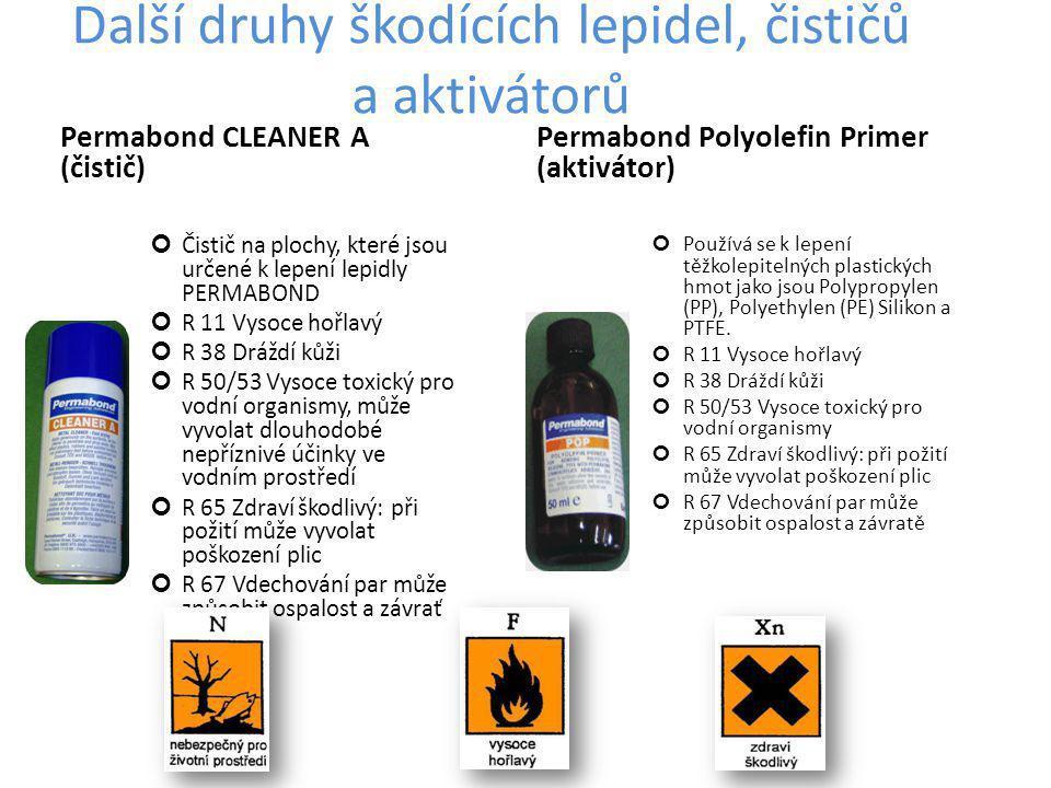 Další druhy škodících lepidel, čističů a aktivátorů Permabond CLEANER A (čistič) Čistič na plochy, které jsou určené k lepení lepidly PERMABOND R 11 Vysoce hořlavý R 38 Dráždí kůži R 50/53 Vysoce toxický pro vodní organismy, může vyvolat dlouhodobé nepříznivé účinky ve vodním prostředí R 65 Zdraví škodlivý: při požití může vyvolat poškození plic R 67 Vdechování par může způsobit ospalost a závrať Permabond Polyolefin Primer (aktivátor) Používá se k lepení těžkolepitelných plastických hmot jako jsou Polypropylen (PP), Polyethylen (PE) Silikon a PTFE.