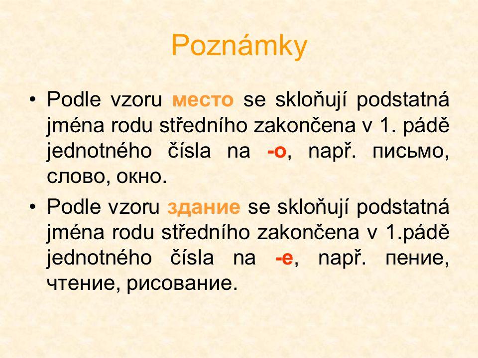 Poznámky Podle vzoru место se skloňují podstatná jména rodu středního zakončena v 1. pádě jednotného čísla na -o, např. письмо, слово, окно. Podle vzo