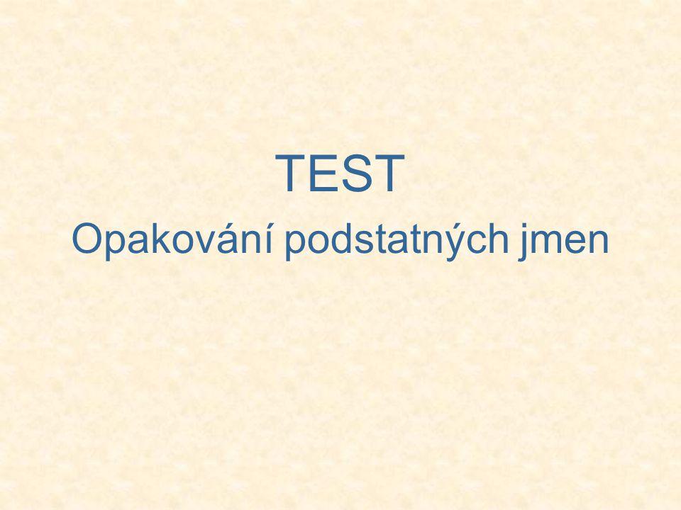 TEST Opakování podstatných jmen