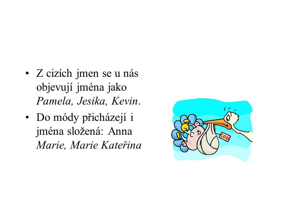 Z cizích jmen se u nás objevují jména jako Pamela, Jesika, Kevin. Do módy přicházejí i jména složená: Anna Marie, Marie Kateřina