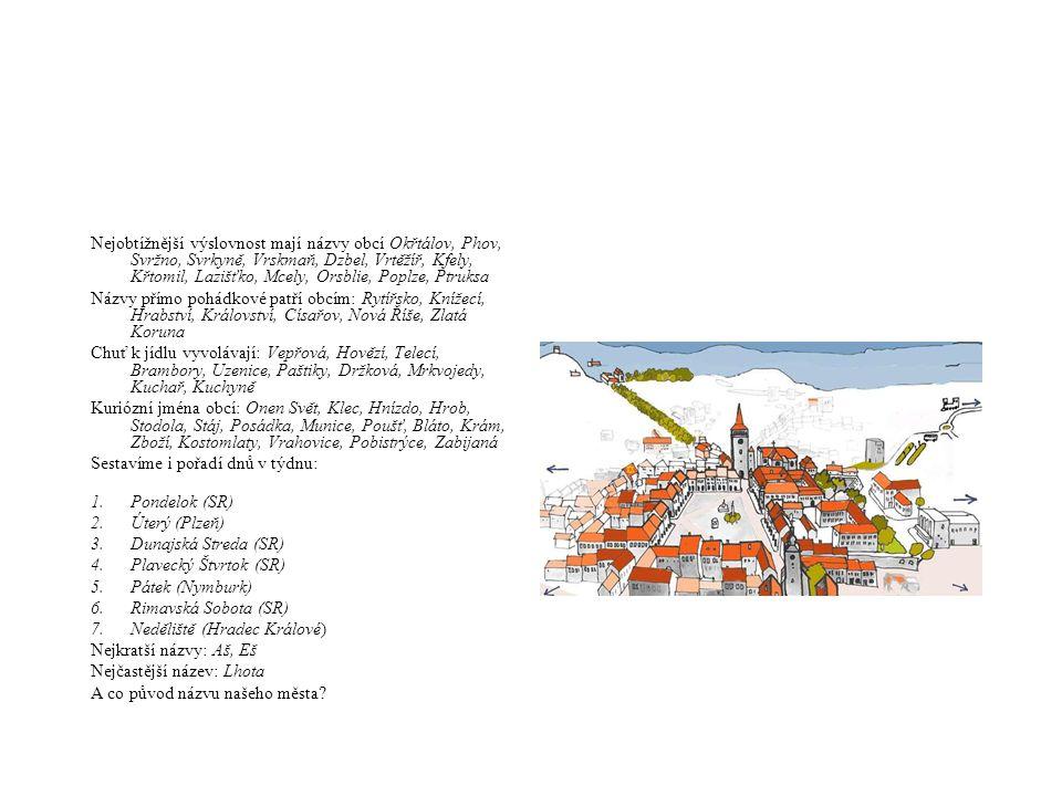 Nejobtížnější výslovnost mají názvy obcí Okřtálov, Phov, Svržno, Svrkyně, Vrskmaň, Dzbel, Vrtěžíř, Kfely, Křtomil, Lazišťko, Mcely, Orsblie, Poplze, P