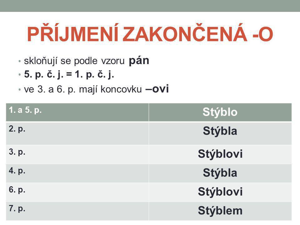 PŘÍJMENÍ ZAKONČENÁ -O skloňují se podle vzoru pán 5. p. č. j. = 1. p. č. j. ve 3. a 6. p. mají koncovku –ovi 1. a 5. p. Stýblo 2. p. Stýbla 3. p. Stýb