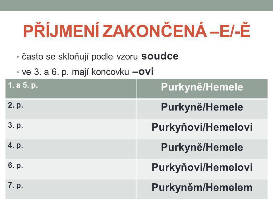 PŘÍJMENÍ ZAKONČENÁ –E/-Ě často se skloňují podle vzoru soudce ve 3. a 6. p. mají koncovku –ovi 1. a 5. p. Purkyně/Hemele 2. p. Purkyně/Hemele 3. p. Pu