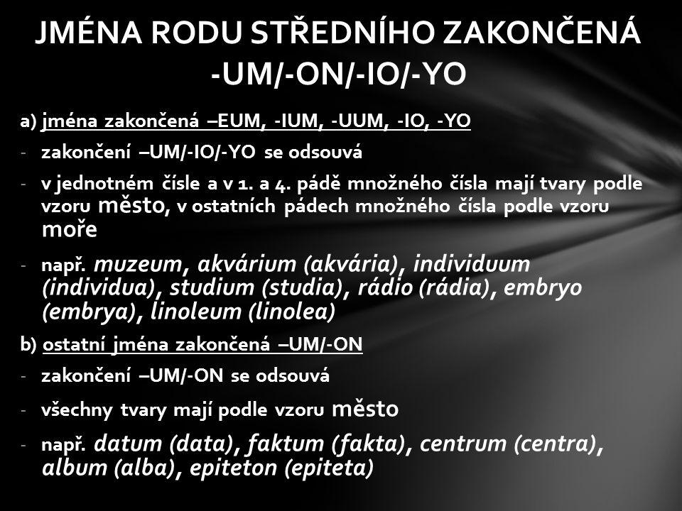 JMÉNA RODU STŘEDNÍHO ZAKONČENÁ -UM 1.p. muzeummuzea 2.