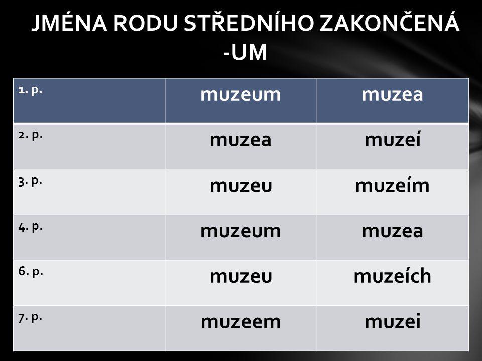 JMÉNA RODU STŘEDNÍHO ZAKONČENÁ -UM 1. p. muzeummuzea 2. p. muzeamuzeí 3. p. muzeumuzeím 4. p. muzeummuzea 6. p. muzeumuzeích 7. p. muzeemmuzei