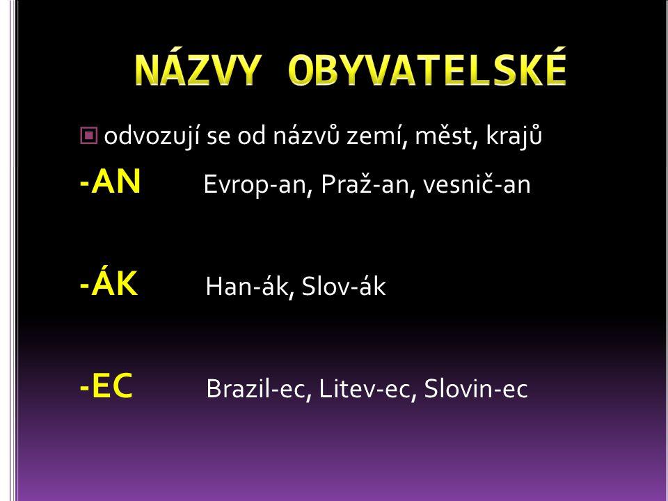 odvozují se od názvů zemí, měst, krajů -AN Evrop-an, Praž-an, vesnič-an -ÁK Han-ák, Slov-ák -EC Brazil-ec, Litev-ec, Slovin-ec