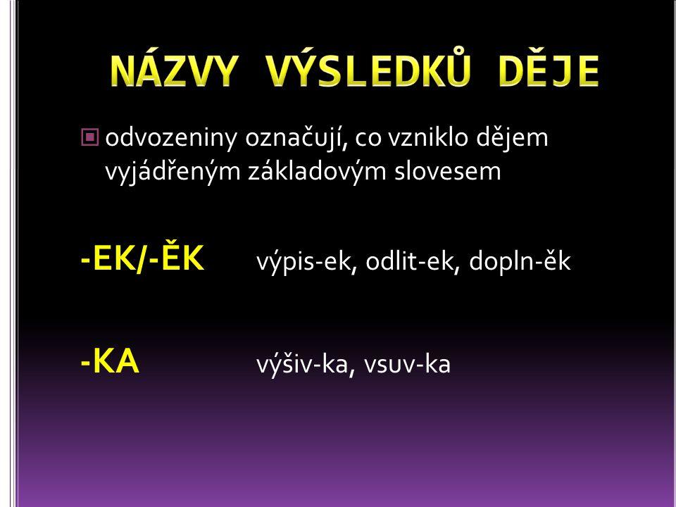 odvozeniny označují, co vzniklo dějem vyjádřeným základovým slovesem -EK/-ĚK výpis-ek, odlit-ek, dopln-ěk -KA výšiv-ka, vsuv-ka