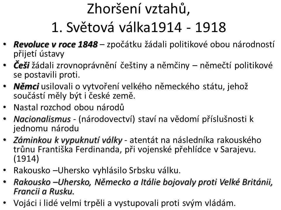 Zhoršení vztahů, 1. Světová válka1914 - 1918 Revoluce v roce 1848 Revoluce v roce 1848 – zpočátku žádali politikové obou národností přijetí ústavy Češ