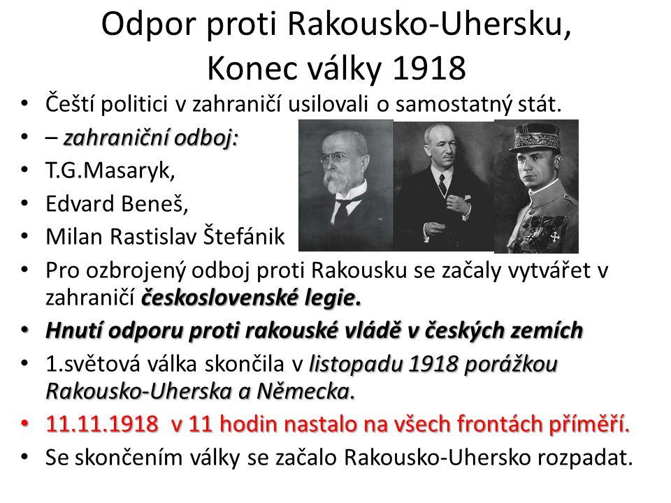 Odpor proti Rakousko-Uhersku, Konec války 1918 Čeští politici v zahraničí usilovali o samostatný stát. zahraniční odboj: – zahraniční odboj: T.G.Masar