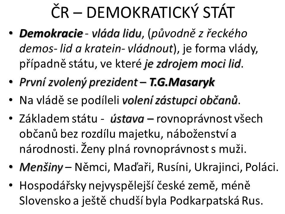 ČR – DEMOKRATICKÝ STÁT Demokracie vláda lidu je zdrojem moci lid Demokracie - vláda lidu, (původně z řeckého demos- lid a kratein- vládnout), je forma
