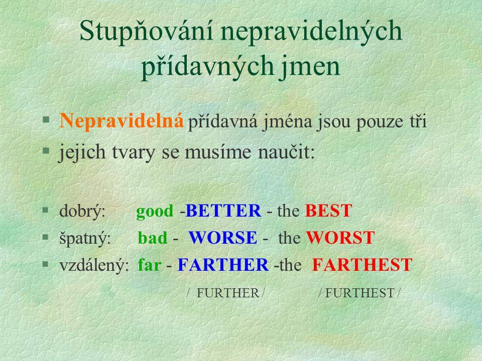 Stupňování opisem §Superlativ vytvoříme použitím slovíčka MOST před přídavným jménem §opět použijeme před superlativem určitý člen THE beautiful- more