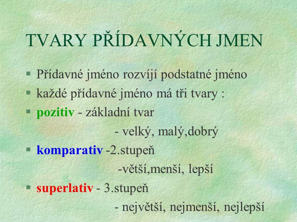 TVARY PŘÍDAVNÝCH JMEN §Přídavné jméno rozvíjí podstatné jméno §každé přídavné jméno má tři tvary : §pozitiv - základní tvar - velký, malý,dobrý §komparativ -2.stupeň -větší,menší, lepší §superlativ - 3.stupeň - největší, nejmenší, nejlepší