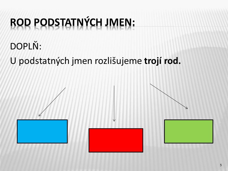 DOPLŇ: U podstatných jmen rozlišujeme trojí rod. 5