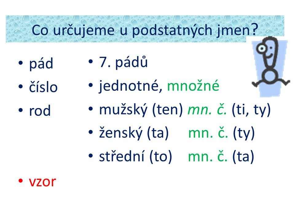 Co určujeme u podstatných jmen ? pád číslo rod vzor 7. pádů jednotné, množné mužský (ten) mn. č. (ti, ty) ženský (ta) mn. č. (ty) střední (to) mn. č.