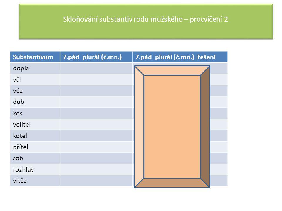 Skloňování substantiv rodu mužského – procvičení 2 Substantivum7.pád plurál (č.mn.)7.pád plurál (č.mn.) řešení dopis dopisy (hrady) vůlvoly (pány) vůz