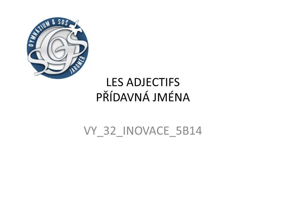 LES ADJECTIFS PŘÍDAVNÁ JMÉNA VY_32_INOVACE_5B14