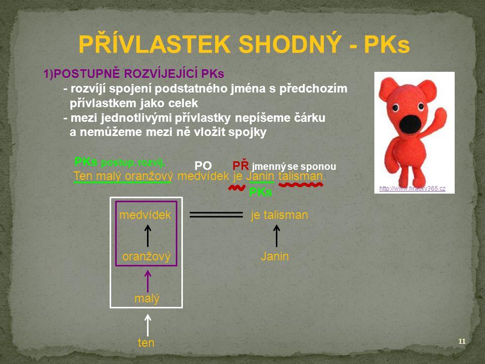 11 PŘÍVLASTEK SHODNÝ - PKs http://www.hracky365.cz 1)POSTUPNĚ ROZVÍJEJÍCÍ PKs - rozvíjí spojení podstatného jména s předchozím přívlastkem jako celek - mezi jednotlivými přívlastky nepíšeme čárku a nemůžeme mezi ně vložit spojky Ten malý oranžový medvídek je Janin talisman.