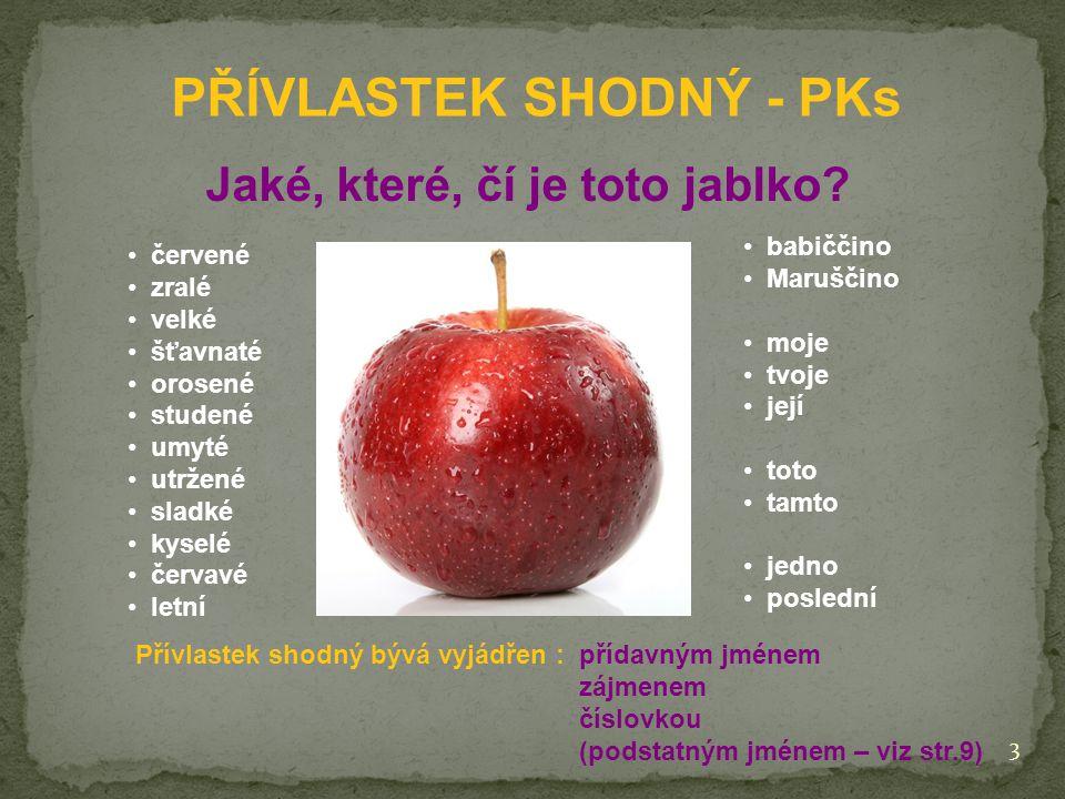 PŘÍVLASTEK SHODNÝ - PKs Jaké, které, čí je toto jablko.
