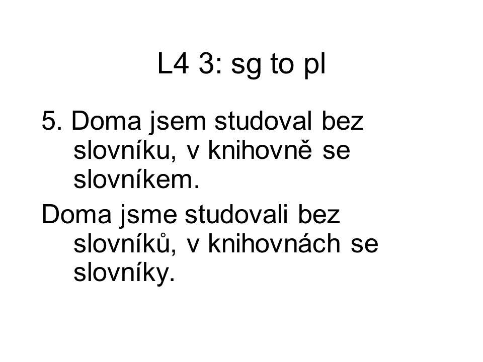 L4 3: sg to pl 5. Doma jsem studoval bez slovníku, v knihovně se slovníkem.