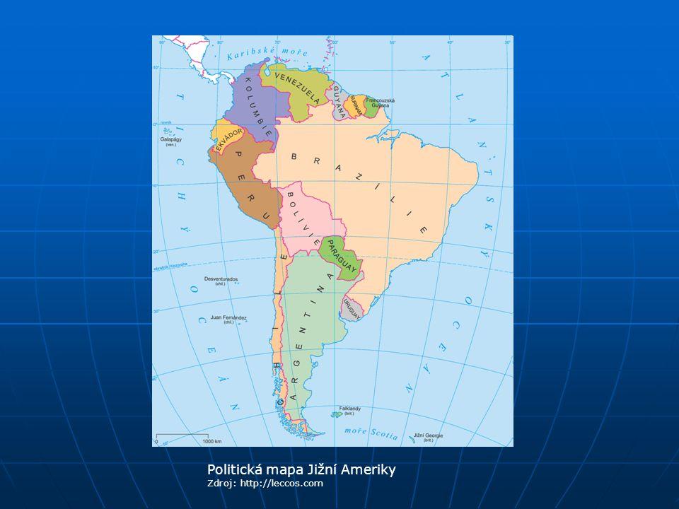 Politická mapa Jižní Ameriky Zdroj: http://leccos.com