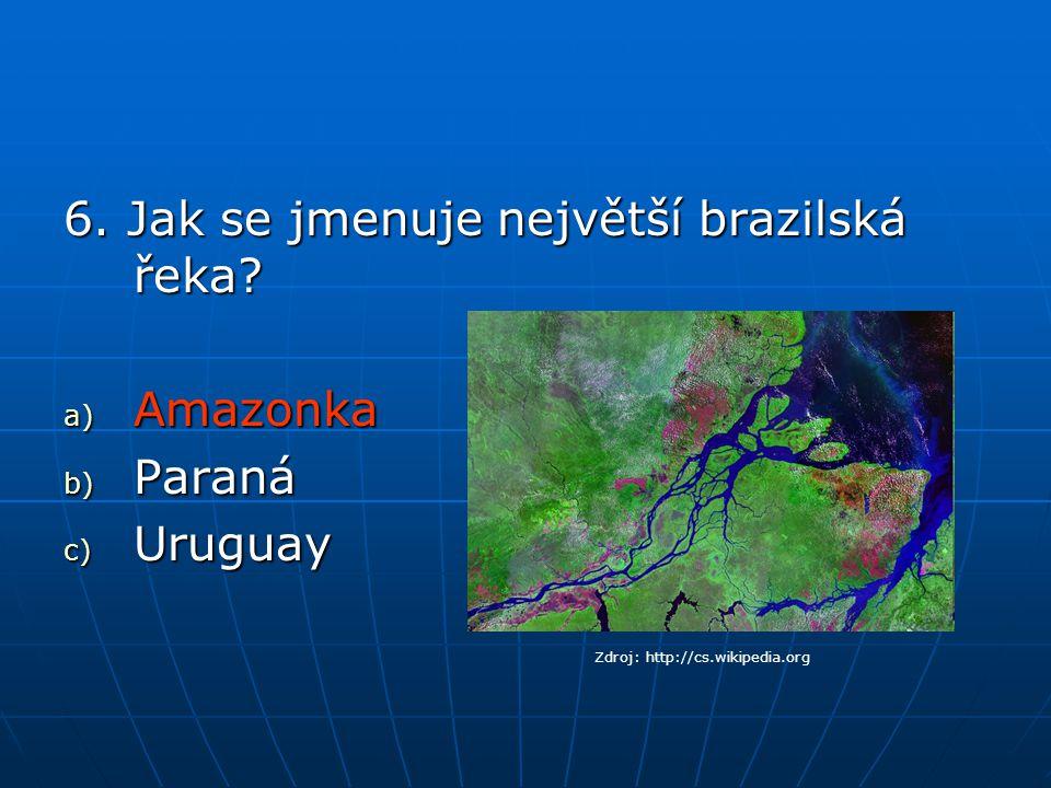 6.Jak se jmenuje největší brazilská řeka.