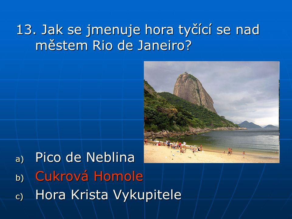 13.Jak se jmenuje hora tyčící se nad městem Rio de Janeiro.
