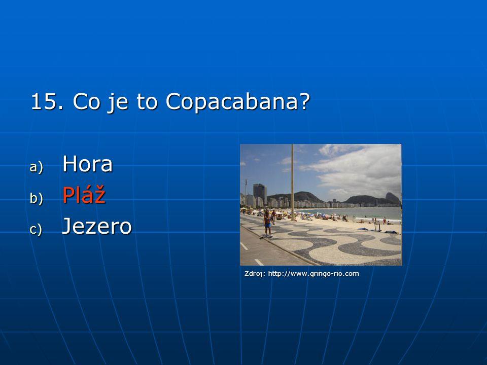 15. Co je to Copacabana? a) Hora b) Pláž c) Jezero Zdroj: http://www.gringo-rio.com