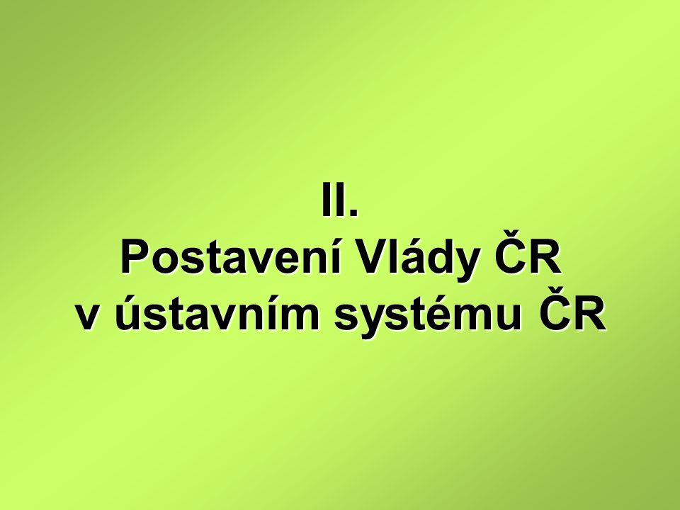 II. Postavení Vlády ČR v ústavním systému ČR