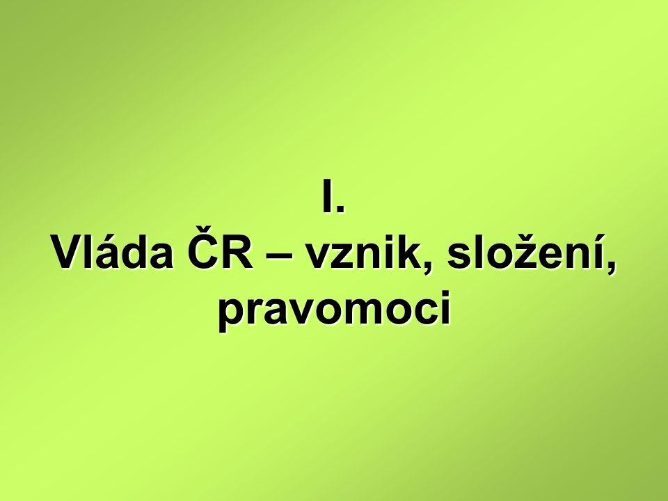 I. Vláda ČR – vznik, složení, pravomoci
