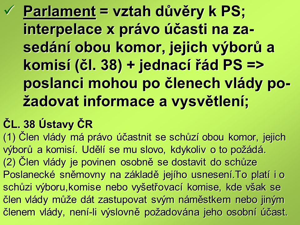 ČL. 38 Ústavy ČR (1) Člen vlády má právo účastnit se schůzí obou komor, jejich výborů a komisí. Udělí se mu slovo, kdykoliv o to požádá. (2) Člen vlád