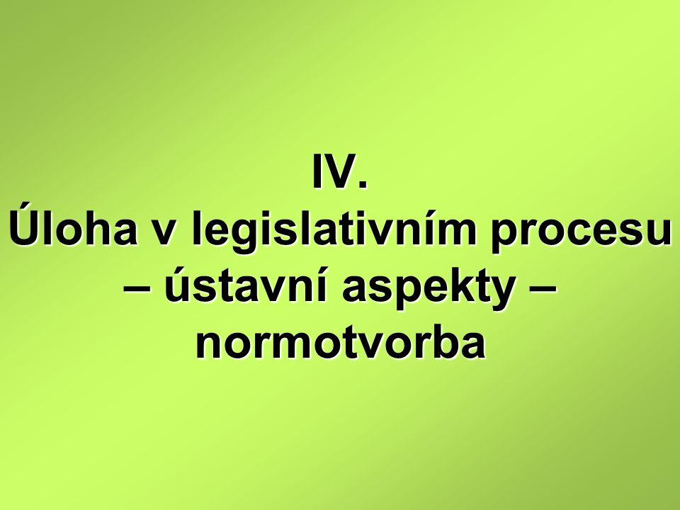 IV. Úloha v legislativním procesu – ústavní aspekty – normotvorba