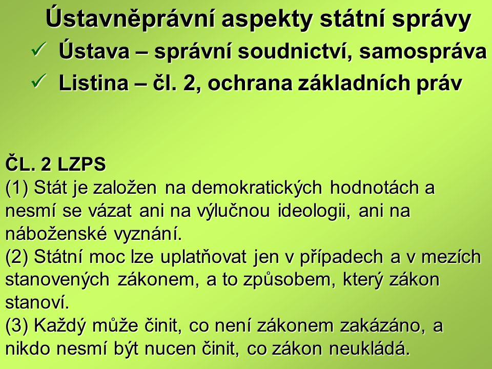 ČL. 2 LZPS (1) Stát je založen na demokratických hodnotách a nesmí se vázat ani na výlučnou ideologii, ani na náboženské vyznání. (2) Státní moc lze u