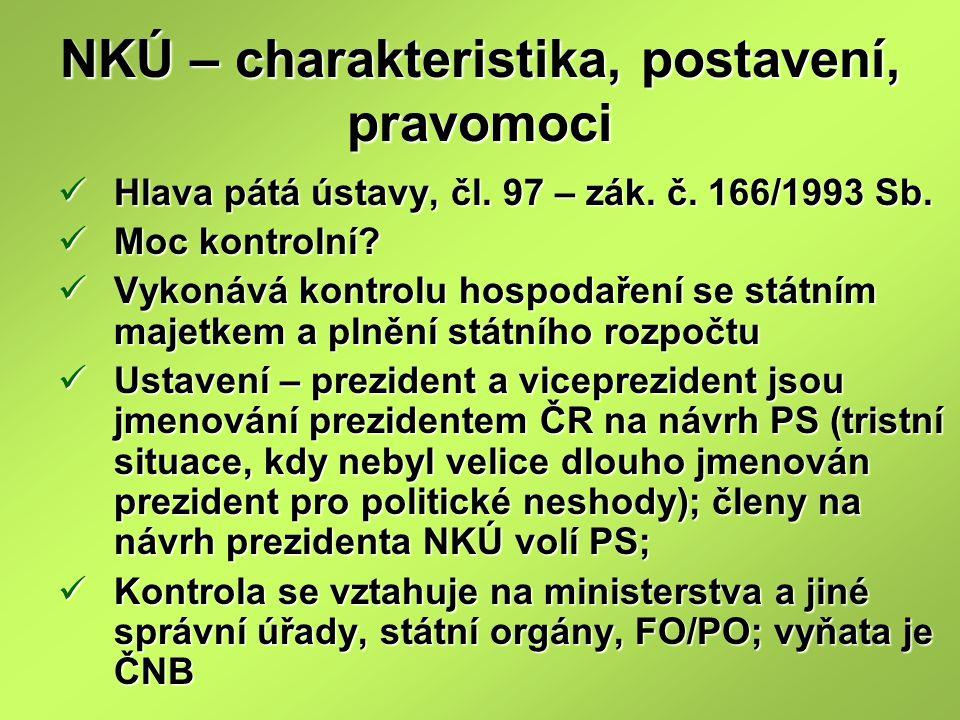 NKÚ – charakteristika, postavení, pravomoci Hlava pátá ústavy, čl.