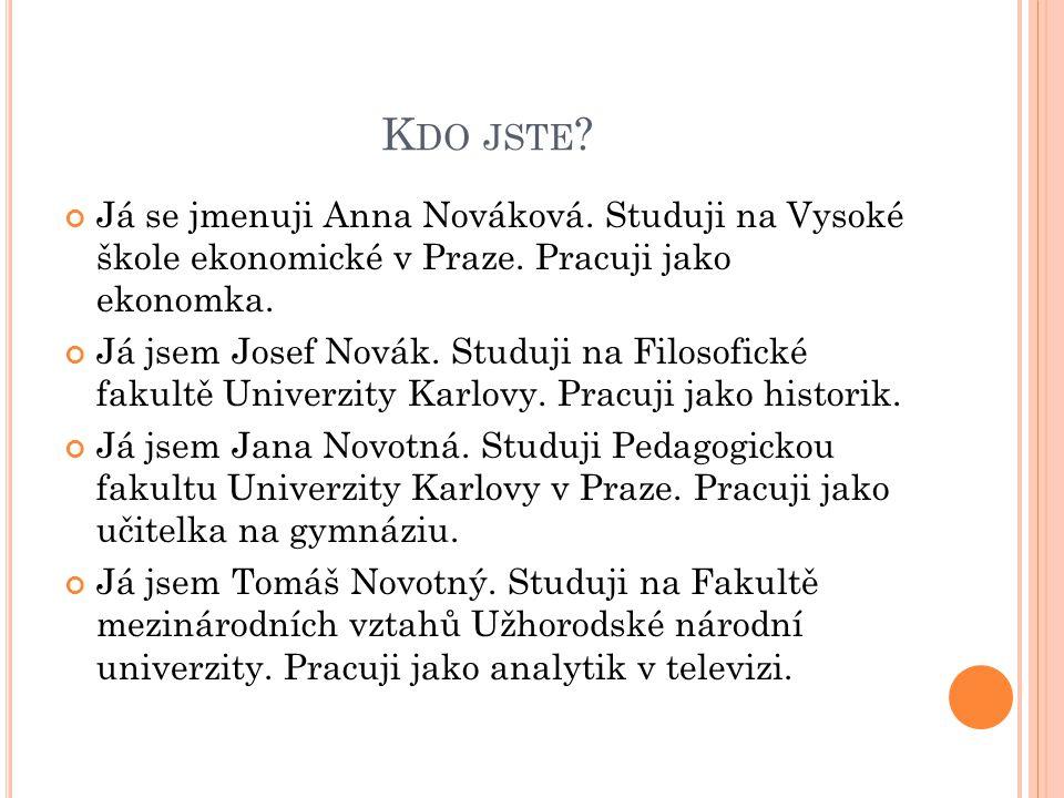 K DO JSTE .Já se jmenuji Anna Nováková. Studuji na Vysoké škole ekonomické v Praze.