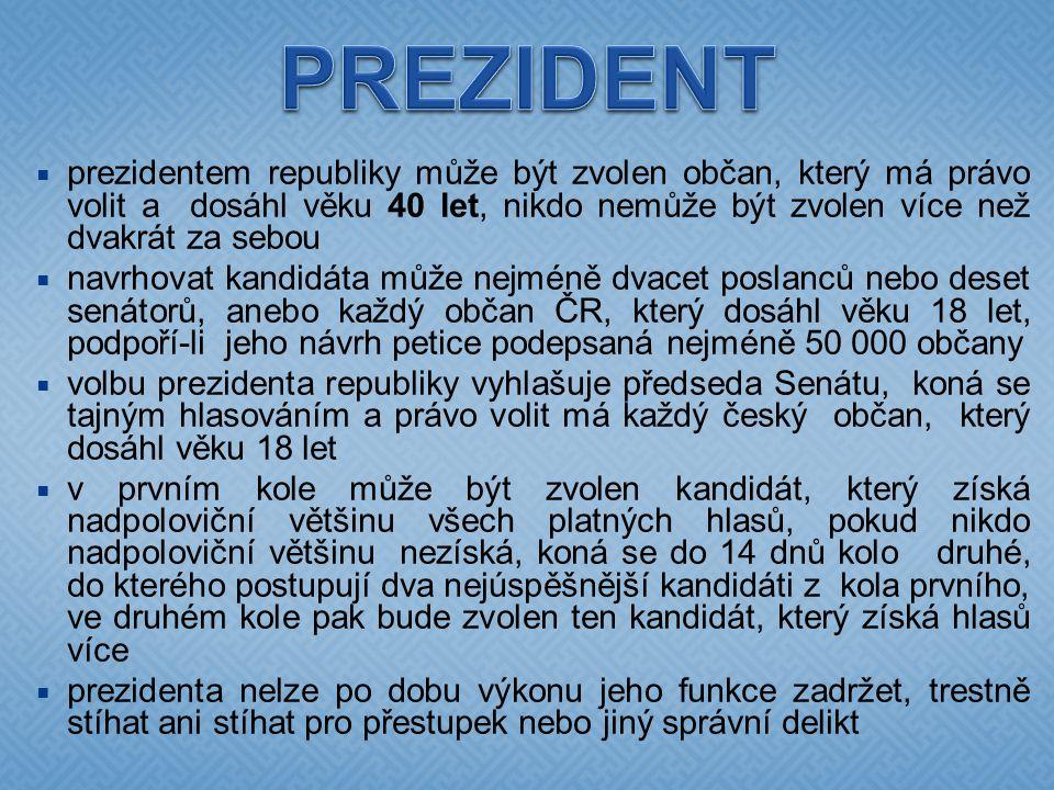  prezidentem republiky může být zvolen občan, který má právo volit a dosáhl věku 40 let, nikdo nemůže být zvolen více než dvakrát za sebou  navrhova