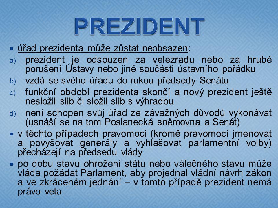  úřad prezidenta může zůstat neobsazen:  prezident je odsouzen za velezradu nebo za hrubé porušení Ústavy nebo jiné součásti ústavního pořádku  v