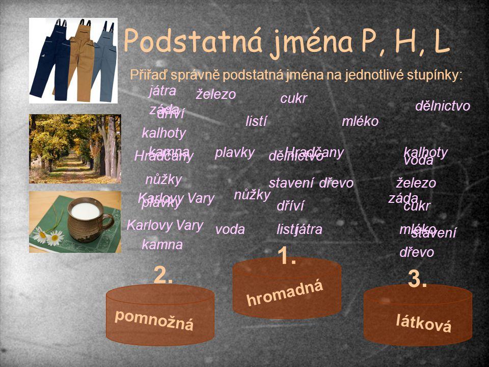 Podstatná jména P, H, L pomnožná hromadná látková 1. 2. 3. Přiřaď správně podstatná jména na jednotlivé stupínky: kamna Karlovy Vary dřevo listímléko