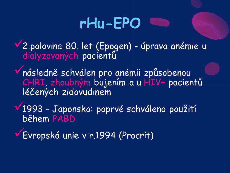 rHu-EPO 2.polovina 80. let (Epogen) - úprava anémie u dialyzovaných pacientů následně schválen pro anémii způsobenou CHRI, zhoubným bujením a u HIV+ p