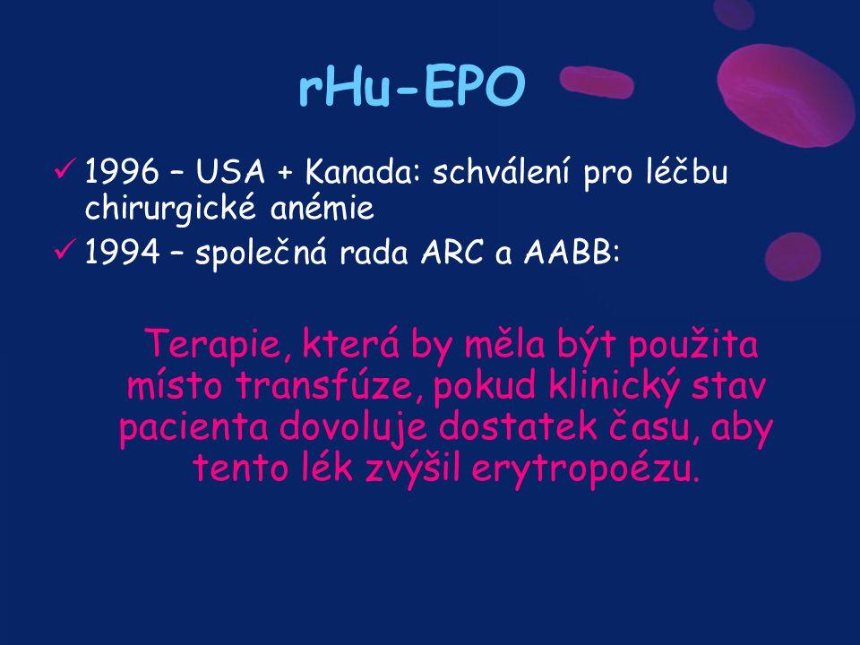 rHu-EPO 1996 – USA + Kanada: schválení pro léčbu chirurgické anémie 1994 – společná rada ARC a AABB: Terapie, která by měla být použita místo transfúz