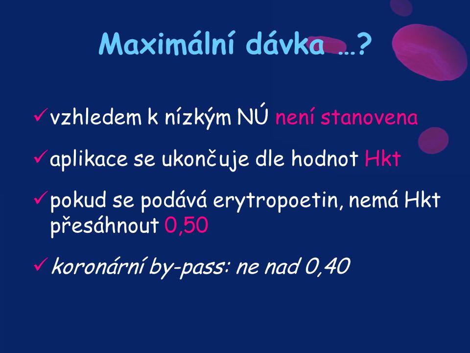 Maximální dávka …? vzhledem k nízkým NÚ není stanovena aplikace se ukončuje dle hodnot Hkt pokud se podává erytropoetin, nemá Hkt přesáhnout 0,50 koro