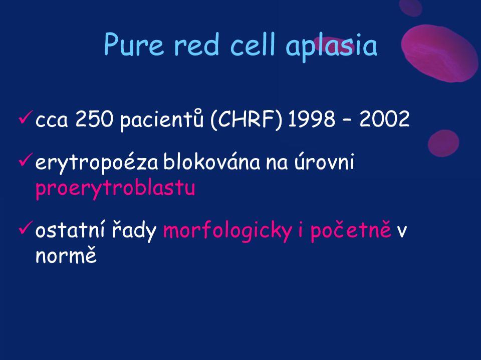 Pure red cell aplasia cca 250 pacientů (CHRF) 1998 – 2002 erytropoéza blokována na úrovni proerytroblastu ostatní řady morfologicky i početně v normě