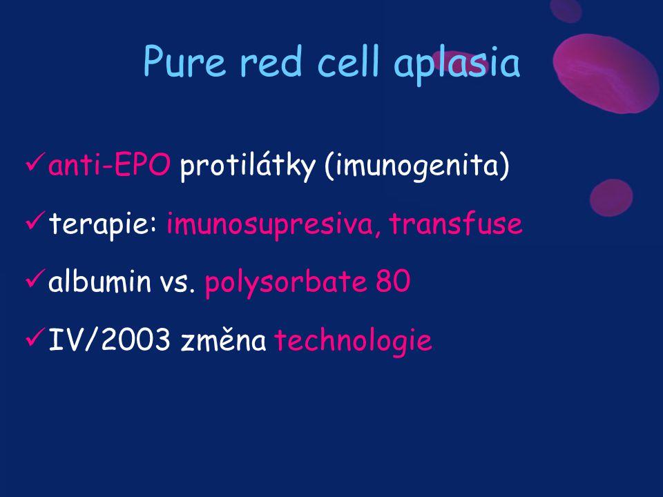 Pure red cell aplasia anti-EPO protilátky (imunogenita) terapie: imunosupresiva, transfuse albumin vs. polysorbate 80 IV/2003 změna technologie