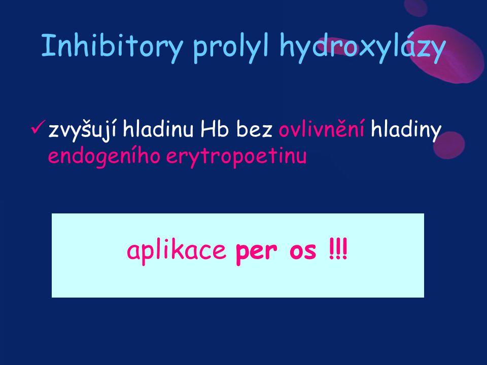 Inhibitory prolyl hydroxylázy zvyšují hladinu Hb bez ovlivnění hladiny endogeního erytropoetinu aplikace per os !!!