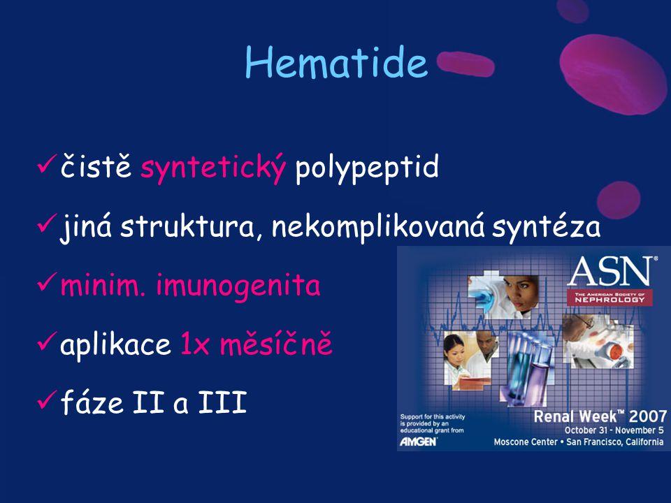 Hematide čistě syntetický polypeptid jiná struktura, nekomplikovaná syntéza minim. imunogenita aplikace 1x měsíčně fáze II a III