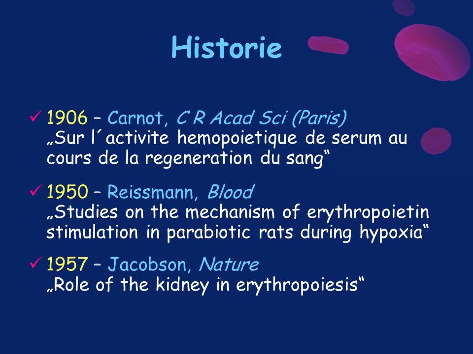 """Historie 1906 – Carnot, C R Acad Sci (Paris) """"Sur l´activite hemopoietique de serum au cours de la regeneration du sang"""" 1950 – Reissmann, Blood """"Stud"""