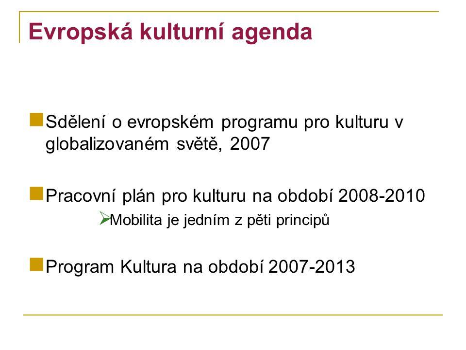 Evropská kulturní agenda Sdělení o evropském programu pro kulturu v globalizovaném světě, 2007 Pracovní plán pro kulturu na období 2008-2010  Mobilita je jedním z pěti principů Program Kultura na období 2007-2013